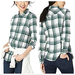 J. Crew Mercantile White and Green Flannel Shirt